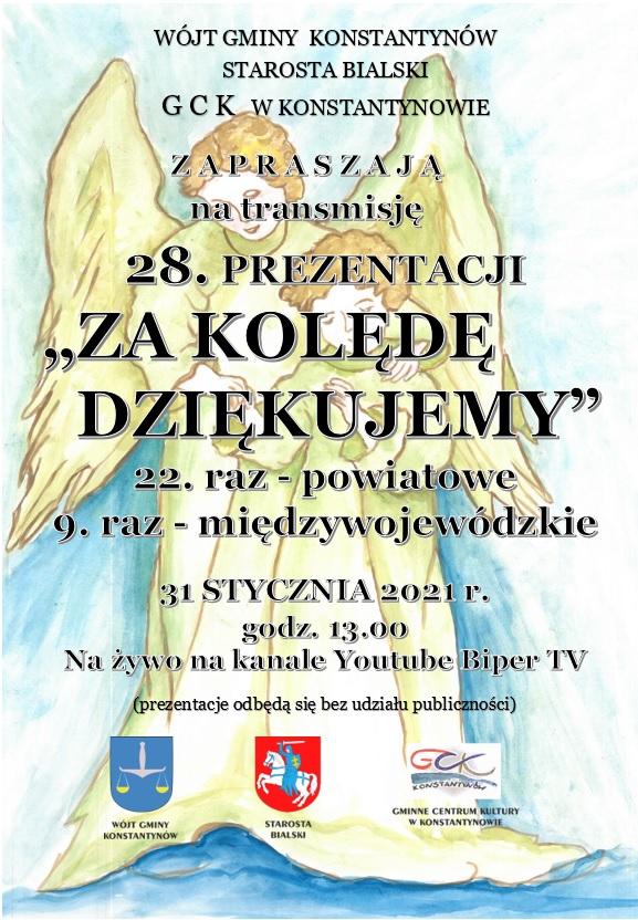 """Zaproszenie Wójta Gminy Konstantynów na transmisję on-line Prezentacji """"Za kolędę dziękujemy"""""""